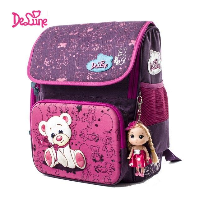 Delune Cute School Bag Bear Pattern Orthopedic Backpack Children ...