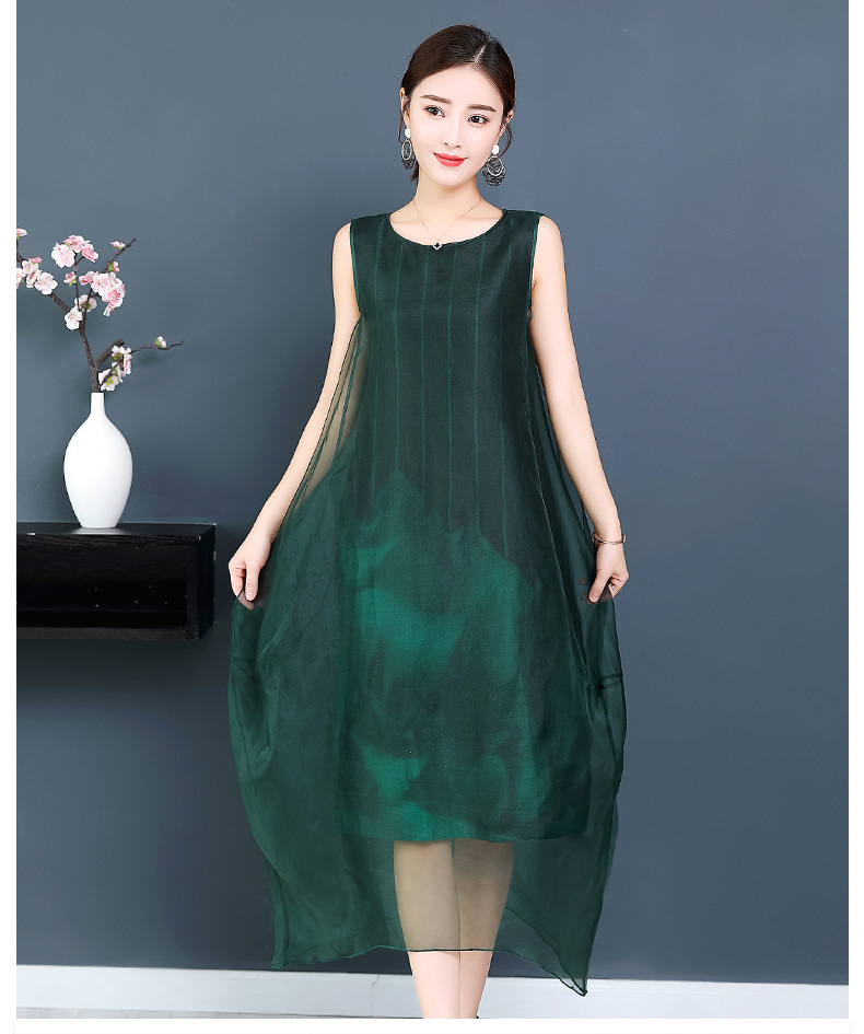 9878c5c0cf899 Organza Cocoon Chiffon Dress Elegant Loose Summer Red Green Women Plus Size  3XL Casual Sleeveless Pirnted Striped Dresses