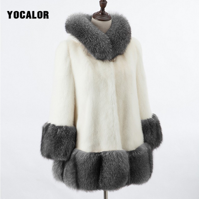 High Imitation Fur Coat Women Silver Fox Fur Collar Hooded Rabbit Fur Coat Overcoat Winter Coat 6XL Mink Winter Female Coat