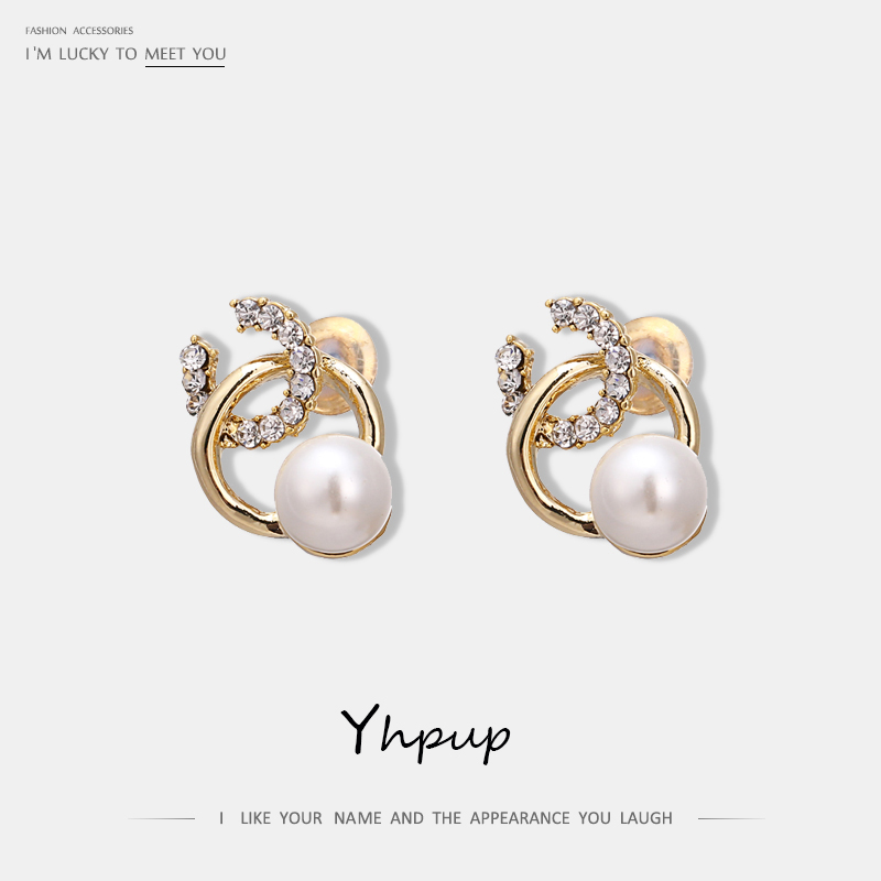 Yhpup Trendy Exquisite Geometric Rhinestone Stud Earrings Zinc Alloy Imitation Pearls Earrings for Women Party Jewelry Gift S925