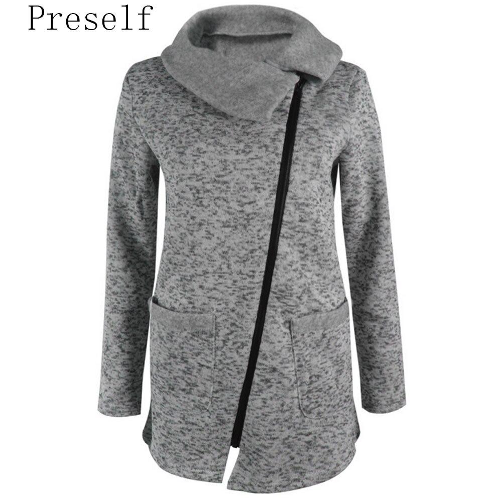 Women Autumn Winter Clothes Warm Fleece Jacket Slant ...