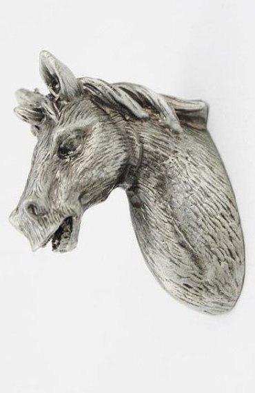 Cabeza de caballo en forma de estaño plata antiguo muebles perillas Closet gabinete Kids Animal de la manija del cajón Dresser tirones