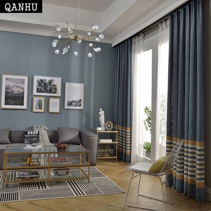 QANHU 2018 new Comfortable Curtain Chenille stripes WildCurtains for Bedroom Living Room Home spring summer Blackout 60%QH 17