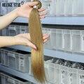 1 ШТ. Бразильские Блондинка Наращивание Волос Прямые Светлые Волосы Человека Уток 7А 10-26 дюймов Девы Светлые Волосы Переплетения Tissage GS102
