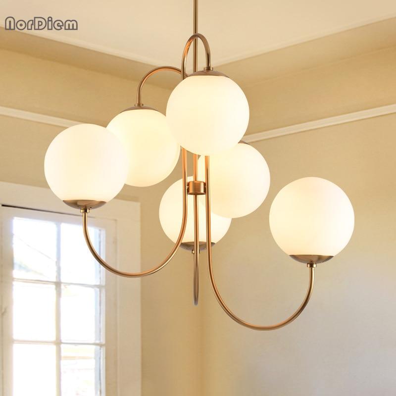 Modern Nordic Gold 6 Lights Glass Ball hanging Pendant Light Lamp Milk White Dining Room Bar