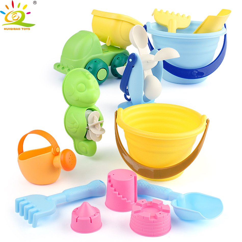 HUIQIBAO TOYS Outdoor Summer Beach Soft Rubber Bucket Shovel Cart Animal sand mould Playing Sand And Water Baby Toys for Kids