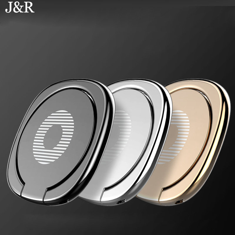 J&R 360 Degree Metal Finger Ring Holder For iPhone 8 7 Samsung Xiaomi Magnetic iPad Tablet Universal Mobile Phone Stand Holder