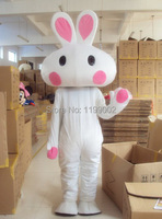 Новинка; Лидер продаж мультфильм большой головой белый кролик Маскоты костюм животного красивые платья Бесплатная доставка