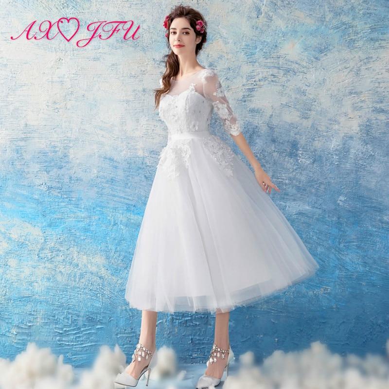 AXJFU pits valge lill pulm kleit magus printsess pruut beading lill pulm Kleit valge pits pulmakleit 1971