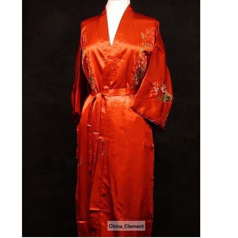 Free Shipping Red New Chinese Womens Satin Silk Robe Embroidery Kimono Bath Gown Flower Size S M L XL XXL XXXL W3S003
