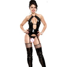Black Faux Leather Jumpsuit Women Sexy Lingerie Latex Catsuit Erotic Bodysuit with Garter Belt Disfraces Adultos Mujer
