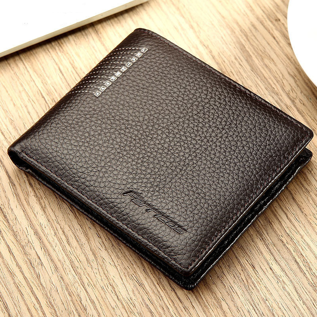 Ultrathin Quality Genuine Leather Short Men Wallet Fashion Business
