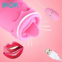 IKOKY Tongue Vibrators 11 Modes USB Power Vibrating Egg G-spot Massage Oral Lick