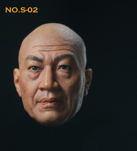 цена на 1/6 Scale S-02 Shi Zhaoqi Head Sculpt Chinese Bald Actor Head Carved Model Toys for 12 inches Male Action Figure Body