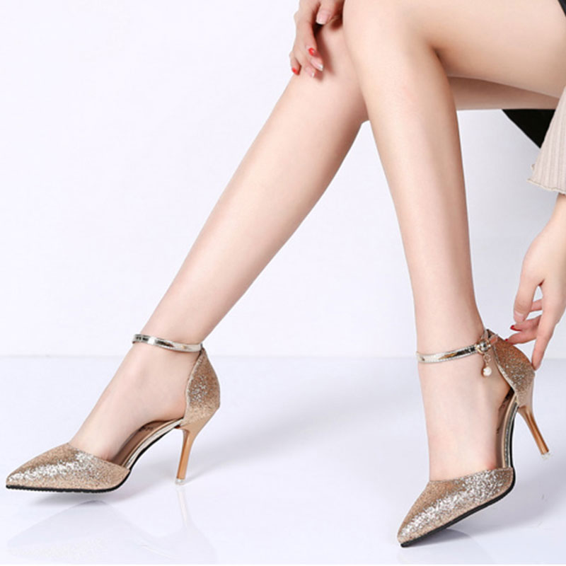 Lucyever Fashion Buckle Crystals Bling Pumps Women Elegant Thin High Heels Point toe Party Wedding Shoes Woman Glod Sliver Black 7