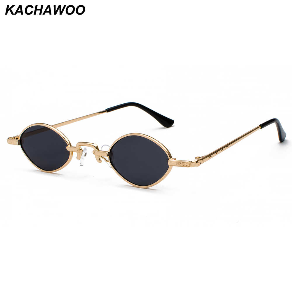9b3b32ffb3b Kachawoo tiny sunglasses men metal frame black red clear lens retro small oval  sun glasses women
