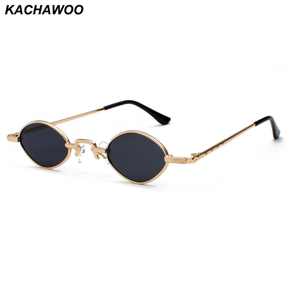 Kachawoo Tiny Sunglasses Men Metal Frame Black Red Clear Lens Retro Small Oval Sun Glasses Women Unisex Gift Items