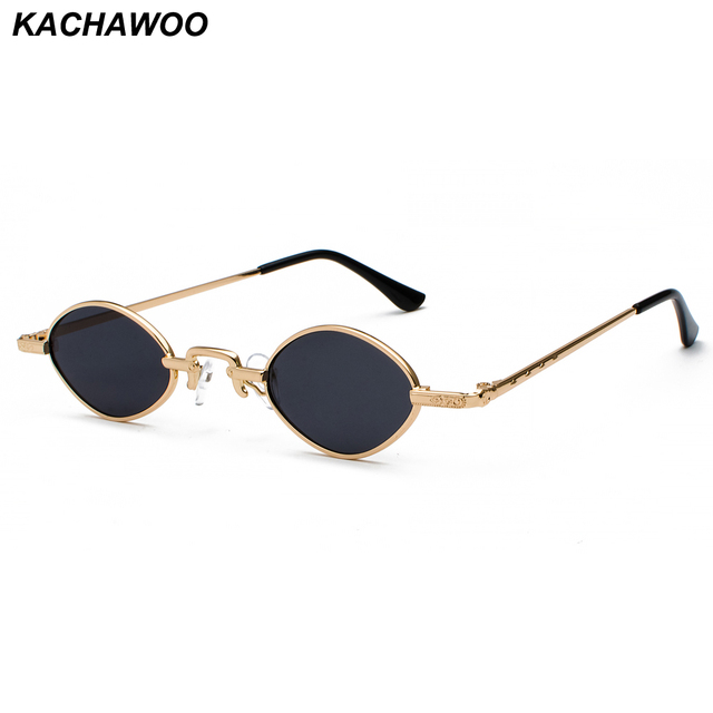 241c9f06a0d Kachawoo tiny sunglasses men metal frame black red clear lens retro small  oval sun glasses women