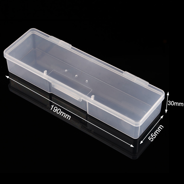 Monja Nail Art Rectangle Translucent Plastic Storage Box Nail Dotting Drawing Brush Pen Polishing Sponge Buffer Container Case 2