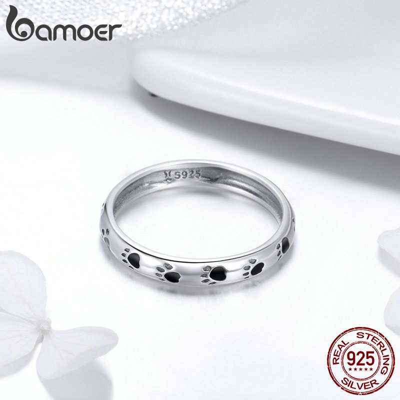 BAMOER 925 Sterling Silver Stackable Dog Cat Footprints Finger Rings for Women Wedding Ring Jewelry Valentine