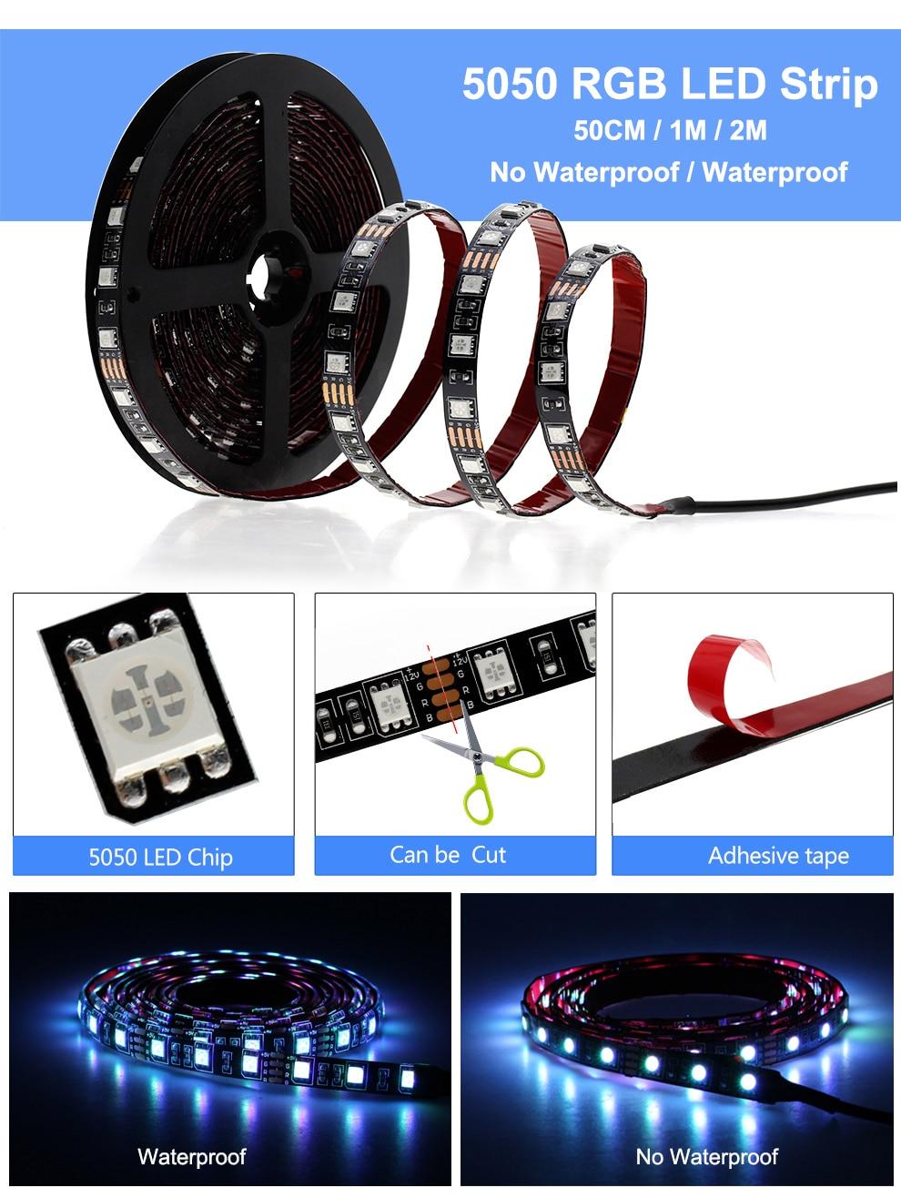 HTB1bc6tO3HqK1RjSZJnq6zNLpXaR USB LED Strip 5050 RGB Changeable LED TV Background Lighting 50CM 1M 2M 3M 4M 5M DIY Flexible LED Light.
