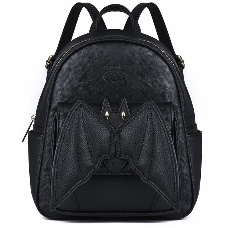 2018 Gothic 3D Bat Mini Backpack For Girls Ladies Stylish Black Bat Wing Backpack PU Leather Daypack Women Female Small Backpack