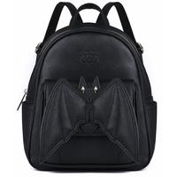 2018 Gothic 3D Bat Mini Backpack For Girls Ladies Stylish Black Bat Wing Backpack PU Leather Daypack Women Female Small Backpack