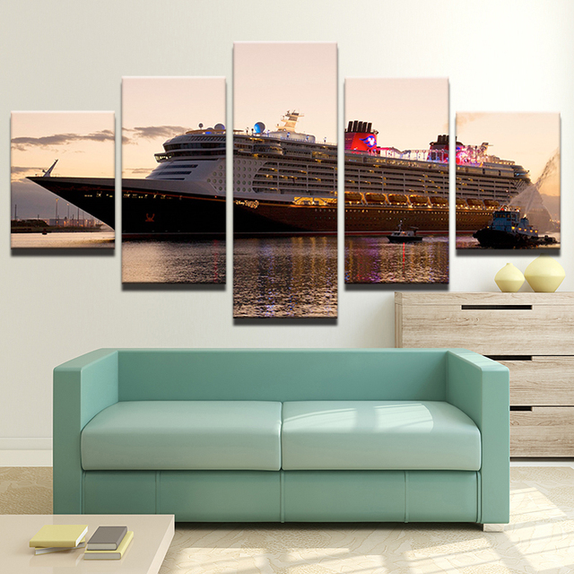 large poster hd printed painting canvas 5 panel cruise ship