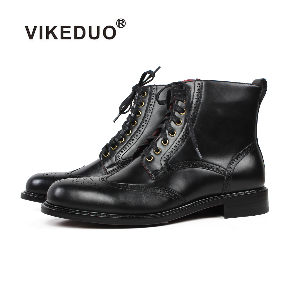 Vikeduo Autumn New Brogue Ankle Boots Men Black Patina Genuine Calf Leather Shoes Classic Bespoke Blake Motorcycle Botas HombreVikeduo Autumn New Brogue Ankle Boots Men Black Patina Genuine Calf Leather Shoes Classic Bespoke Blake Motorcycle Botas Hombre