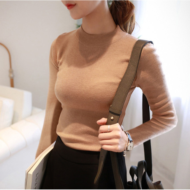 Woman spring plus size Solid Full Turtleneck Pullovers sweaters female autumn winter oversized stretch hedging sweater