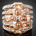 Fashion jewelry Plated rose gold Wedding Rings Zircon And Paved Full Crystals Round Rings Women Engagement gifts
