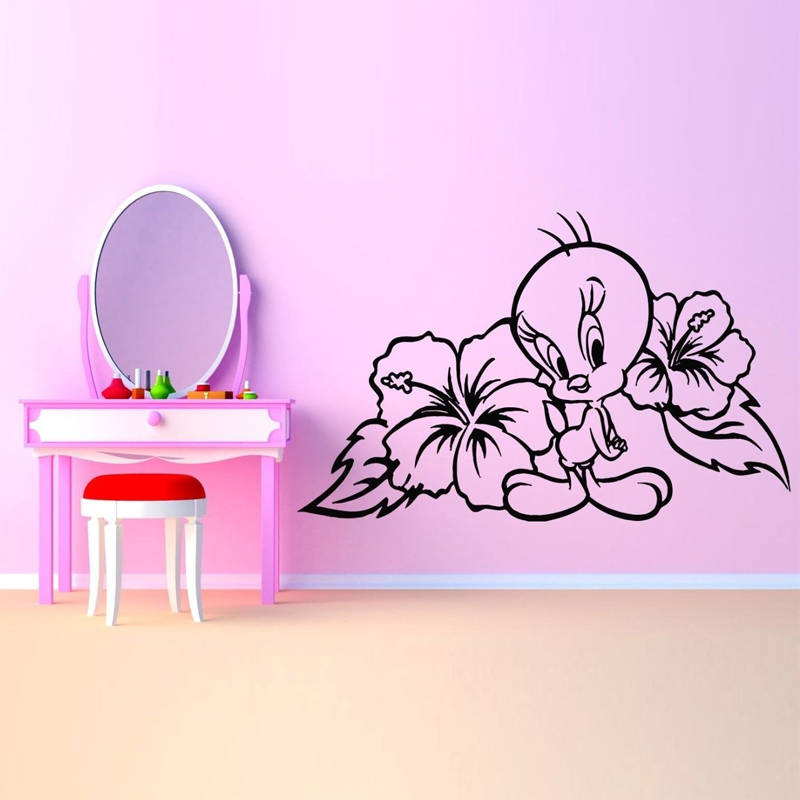 Cartoon Duck Flower Lovely Removable Wall Stickers For