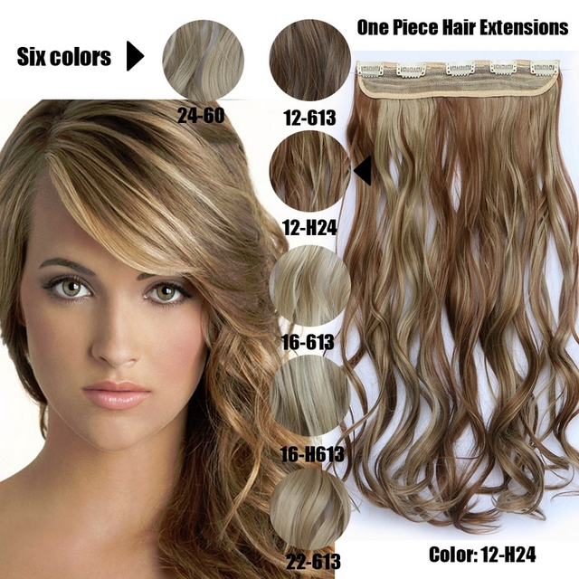Natural Wavy Hair Extensions Heat Resistant Synthetic One Piece Long