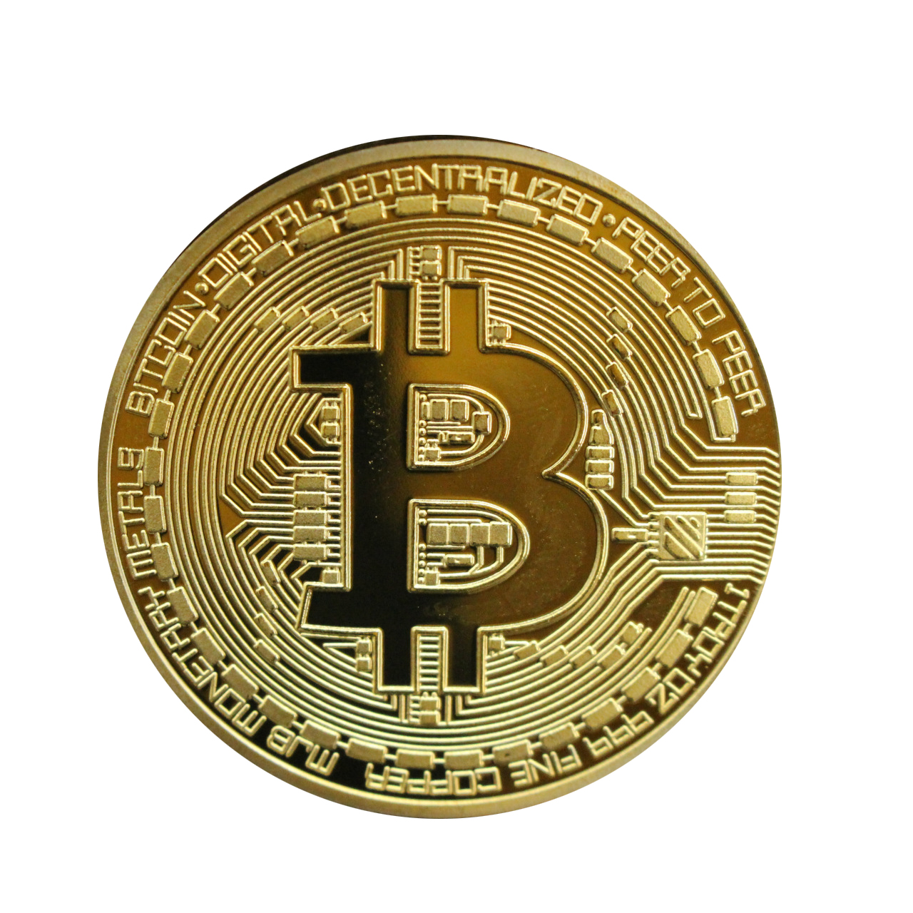 1 Pcs Gold Plated Bitcoin Coin Collectible Gift Casascius Bit Coin BTC Coin Art Collection Physical Commemorative Coin TSLM1