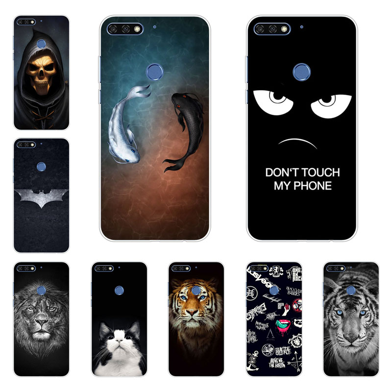 huawei Y7 pro 2018 case,Silicon Gossip fish Painting Soft TPU Back Cover for huawei Y7 pro 2018 protect Phone shell ...