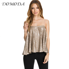 DOMODA 2017 3 Colors Top Tees Women Sleeveless Sequin Ruffle Pleated Backless Spaghetti Strap Tops Sexy Streetwear Tank Female