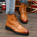 Autumn And Winter Fashion high-top PU Leather Men Oxfords Boots Brogue Carved Pointed Toe Lace Up Men Martin Boots With Fur