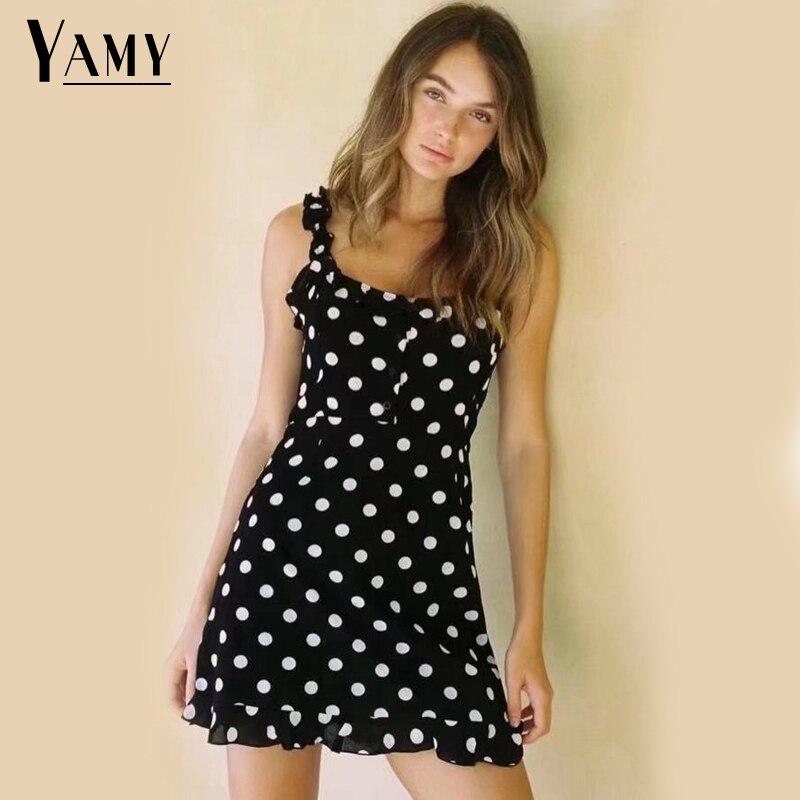 Summer dress beach dress black kawaii white polka dot print vintage bohemian korean mini dress elegant polka dot
