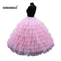 Doragrace 9 Layers Pink lace Ball Gown Petticoat Underwear Wedding Accessory Bride Crinoline