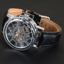 Luxury Fashion Skeleton PU Strap Automatic Mechanical Watch Business Gold Silver Black Wrist Watch for Men Relogio Masculino