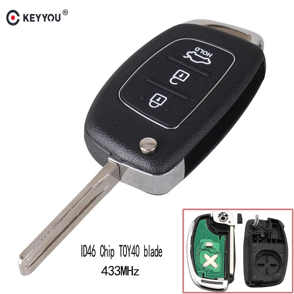 KEYYOU Transponder-Chip Toy40-Blade Remote-Key IX35 Flip IX45 Folding Elantra Hyundai