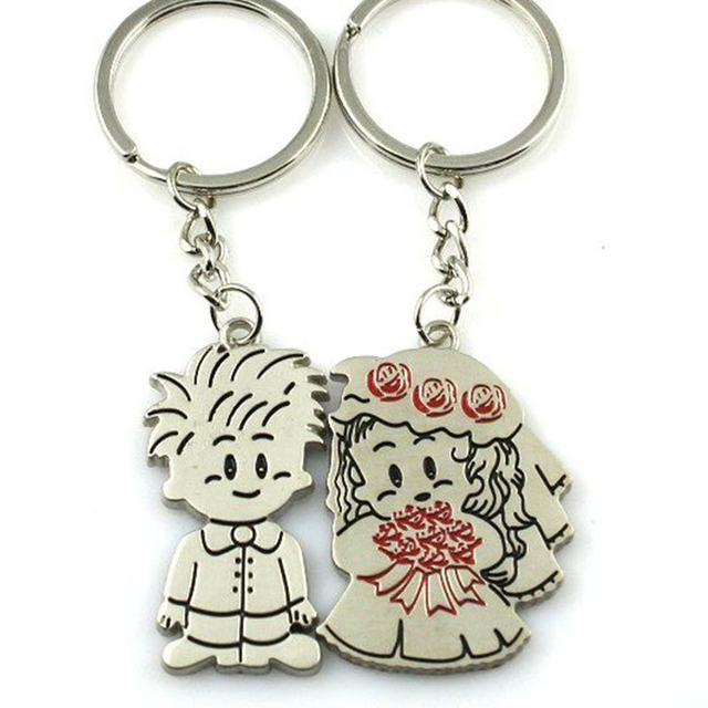 LNRRABC Fashion 1 Pair/Set Women New Couple Key Ring Cartoon Lover Keychain Valentines Gift 9 Style