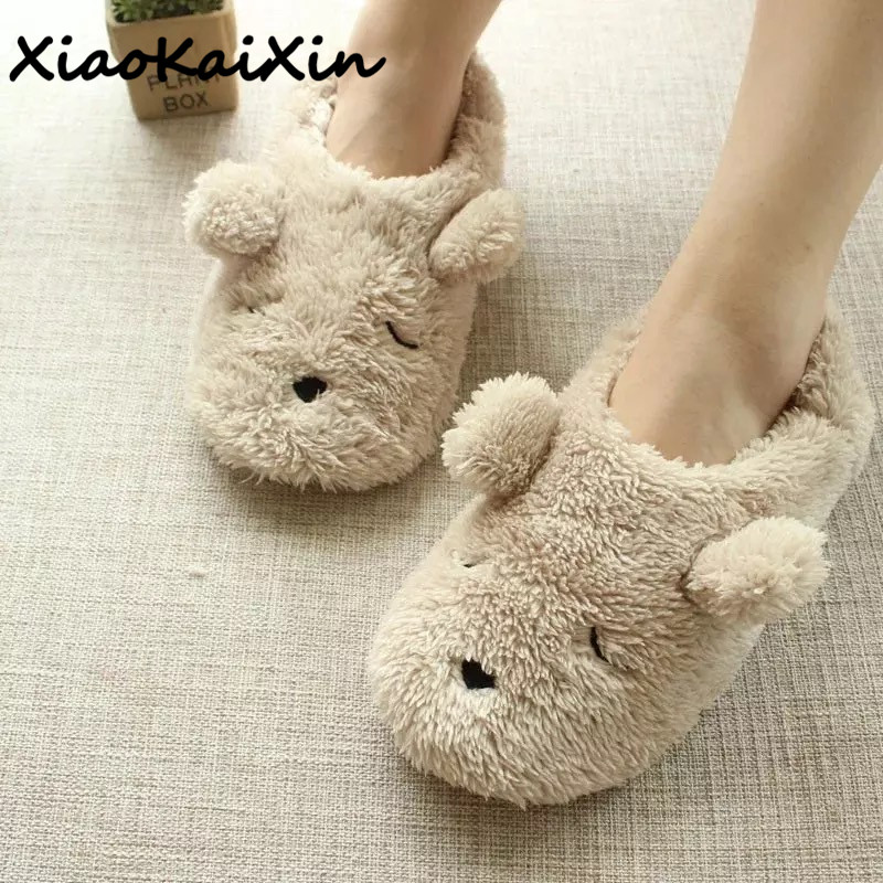 XiaoKaiXin Winter Home Cartoon Squinting Dog Soft Plush Slippers Women Indoor Floor Warm Bedroom big Size Slipper Shoes Girls xiaokaixin winter home couples slippers large size women