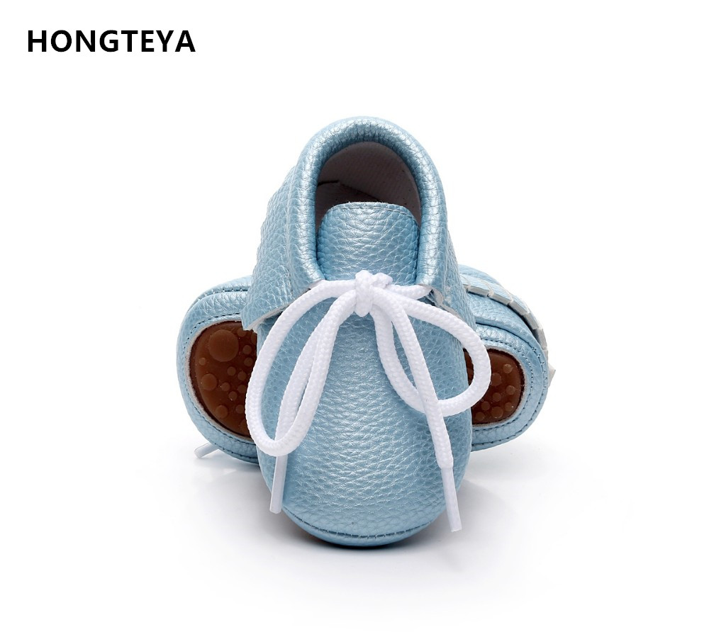 HONGTEYA Retail New pu Leather Baby Moccasins Shoes solid lace up hard rubber sole Baby Shoes Newborn first walker Infant Shoes