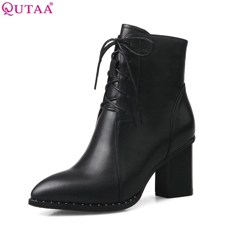 Ayakk.'ten Ayak Bileği Çizmeler'de QUTAA 2020 Moda Kadın yarım çizmeler Kare Yüksek Topuk Dantel Kadar Sivri Burun Hakiki Deri Kadın Motosiklet Çizmeler Boyutu 33  42'da  Grup 1