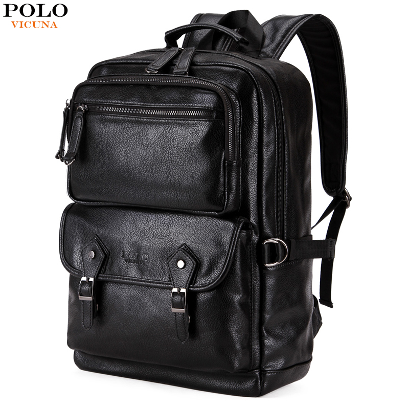 VICUNA POLO Leather Men Backpack Travel Men's Luggage Shoulder Bag Large Capacity Laptop Backpack Functional Bags For Teenager