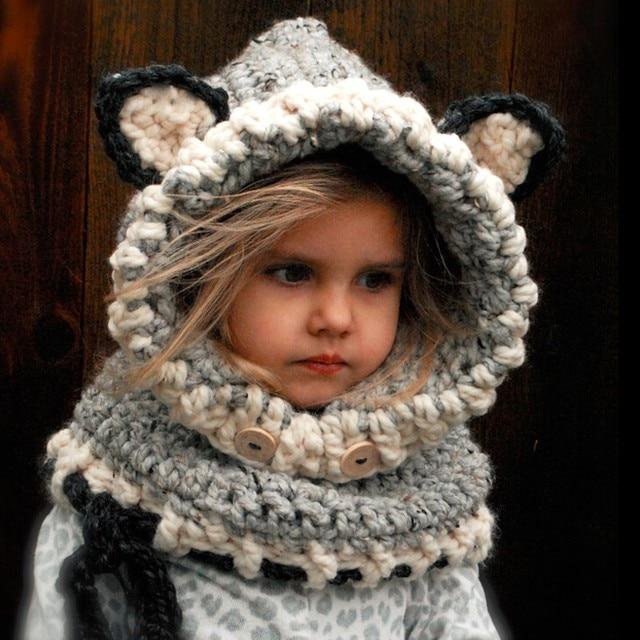 Новое поступление зимние детские вязаный крючком с капюшоном Cat шапки для младенца шарф-шаль трикотажные воротник Детский шарф и шапка écharpe комплект с капором