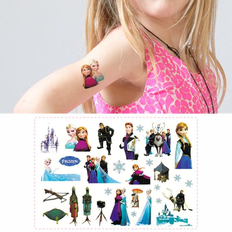 Novelty Gag Toys Children Cartoon Temporary Tattoo Sticker For Princess Sofia Snow White Mermaid Fans Waterproof 2-3 Days