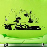 Japanese Cartoon Girl Vinyl Wall Decal Girl Long Hair Anime Mural Art Wall Sticker Beauty Shop Hair Salon Decoration