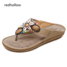 Women Sandals Summer Flat Shoes Bohemian String Bead Fashion Slip On Beach Slippers Mujer Flip Flops
